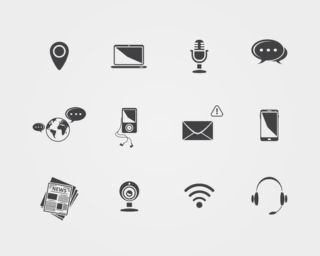 Vector Media and communication icons  isolated on a white background Vector