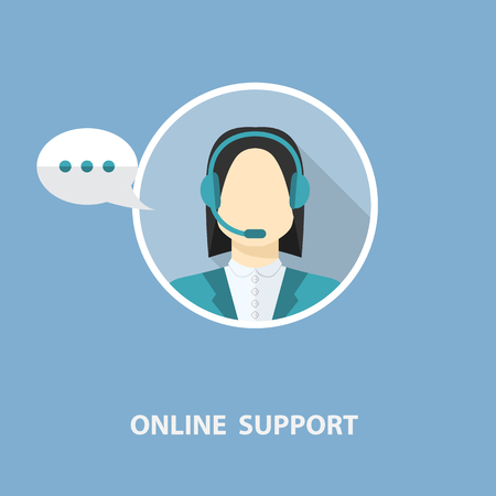 Vector online support concept in flat stile  isolated on a blue background Vector