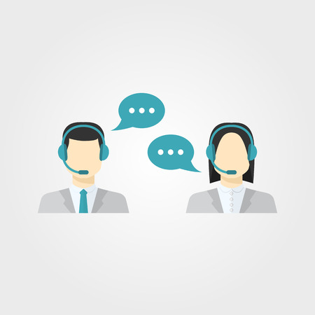 Icons set Male and female call center avatars in a flat style with a headset,color speech bubbles conceptual of communication, client services, telemarketing,business Vector