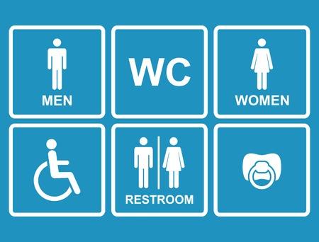 ベクトル トイレ アイコン、男性、女性、女性、ニップル、子供、障害者