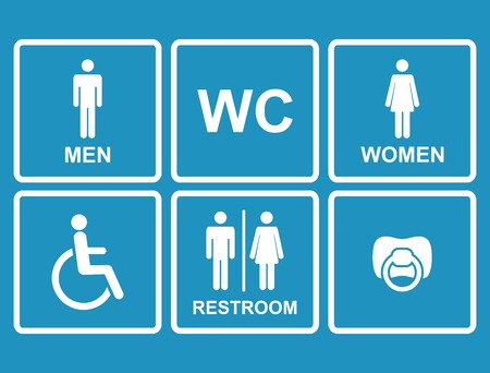 Vector toilet pictogrammen, mannen, vrouwen, dame, tepel, kind en arbeidsongeschiktheid