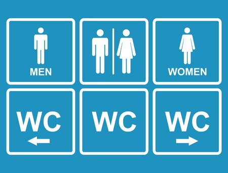 conjugal: Male and female WC icon denoting toilet and restroom facilities for both men and women with black male and female,arrows,pointer, silhouetted figures Illustration