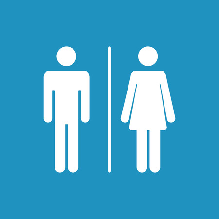 Male and female WC icon denoting toilet and restroom facilities for both men and women with black male and female silhouetted figures 일러스트