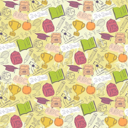 Neon Seamless pattern about school. Vector