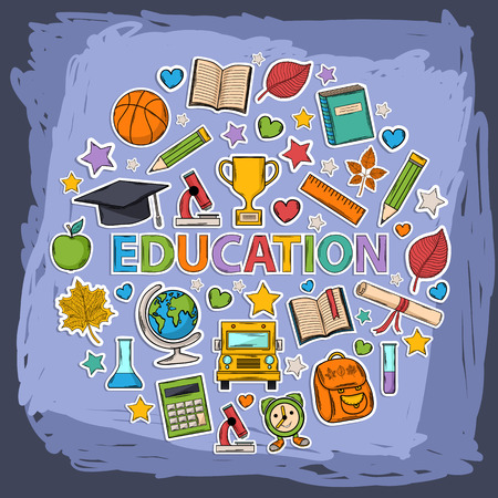 Vector doodle education set Vector