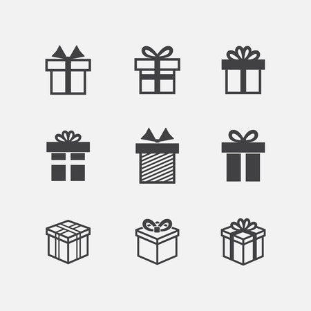 Vector Gift box black icons isolated on a white background Illustration