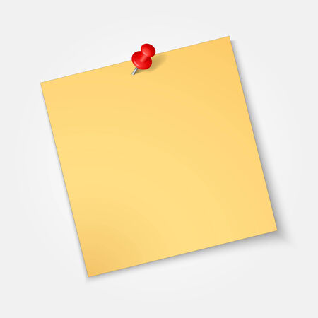 Note paper,sticker  with red pin isolated on a white background