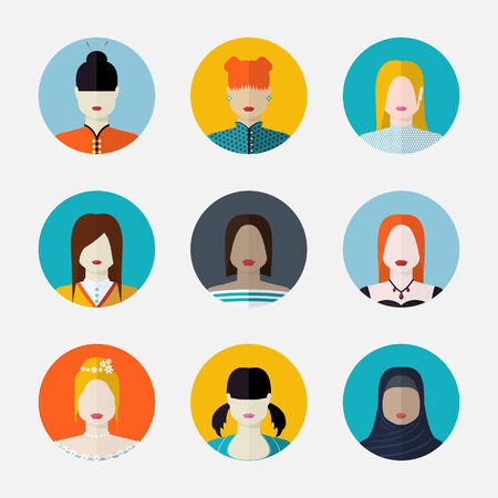 nationalities: Vector set  of women avatars  in flat style different nationalities Illustration