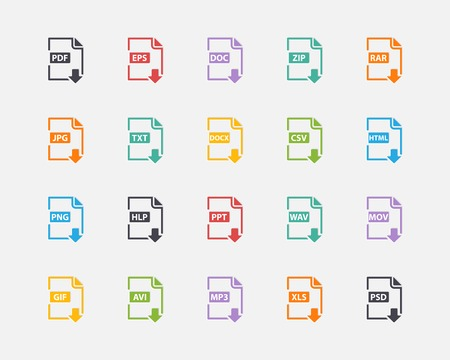 Vector set of Document File Formats and Labels color icons in flat stile Vector