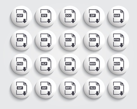 Vector set of Document File Formats and Labels  black icons on a buttons Vector