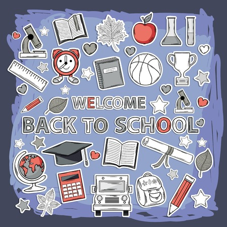 Vector doodle school set with different thematic elements Vector