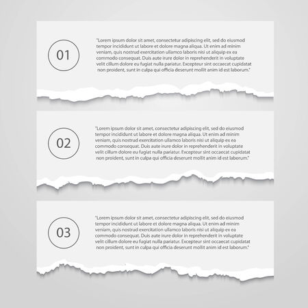 disrupt: Vector Set of lacerated  sheets with numbers,infographic,banner isolated on a white background