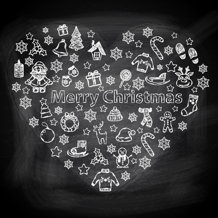Chalk board Merry Christmas in the form of heart,with Santa Claus,snowman,Christmas tree,sleigh,candy,house,ice skates,snowflake,gift,candle,wreath,mittens,hat,scarf,deer in the shape of heart Vector
