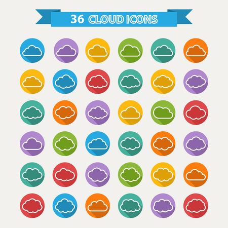 set of thirty six white cloud in shapes on a color circle in flat style and shadow Vector