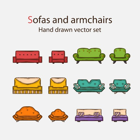 doddle: Vector icon set of sofas and armchairs in doddle style with shadow Illustration