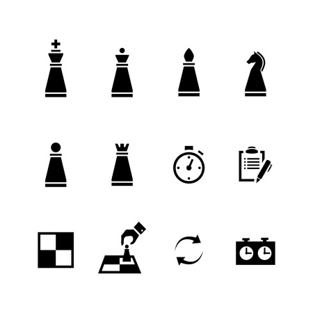 Chess pieces Black icons set isolated on a white background Stock Illustratie