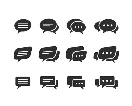 Vector black speech bubble  icons set isolated on a white background Vector