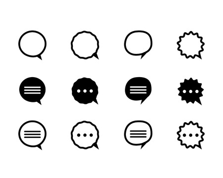 black and line speech bubble icons set isolated on a white background Vector