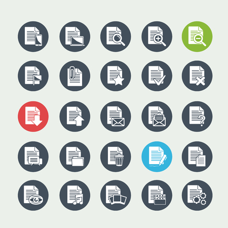 Vector big set white Document File icons on a circle Vector