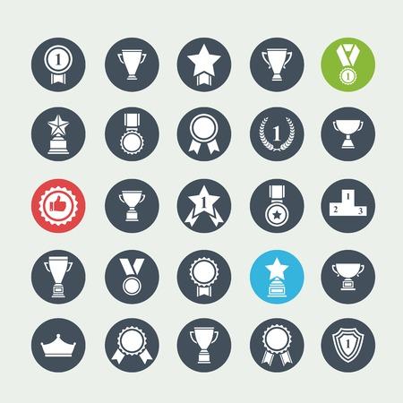 escarapelas: Gran conjunto de premios vector éxito y la victoria iconos con trofeos estrellas tazas de cintas rosetones medallas medallones guirnalda y un podio en un círculo de color