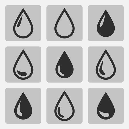 Vector druppel zwarte pictogrammen op een grijze vierkante Stock Illustratie