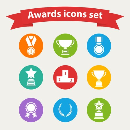 Set of white vector award success and victory icons with trophies stars cups ribbons rosettes medals medallions wreath and a podium on a color circle in flat style
