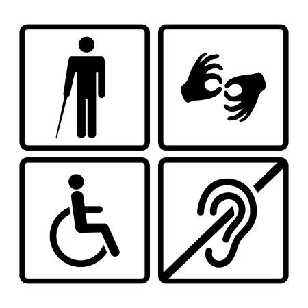 Vector uitgeschakeld borden met doof, stom, stom, blind, rolstoel pictogrammen Stock Illustratie