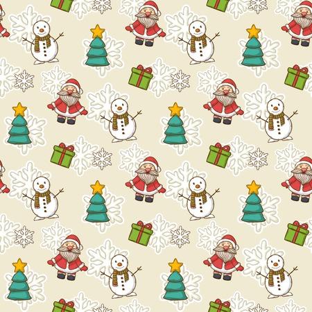 casita de dulces: Vector Feliz A�o Nuevo y el patr�n de Feliz Navidad, con Pap� Noel, mu�eco de nieve, �rbol de Navidad, dulces, casa, patines de hielo, copo de nieve, regalo, vela, guirnalda Vectores