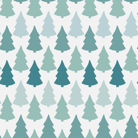 Vector seamless pattern with abstract christmas tree in green tones on a white background