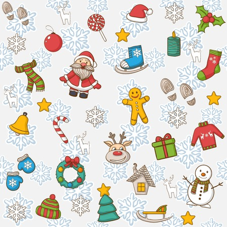 casita de dulces: Vector Feliz A�o Nuevo y el patr�n de Feliz Navidad, con Santa Claus, mu�eco de nieve, �rbol de Navidad, dulces, casa, patines de hielo, copo de nieve, regalo, vela, corona de Navidad Vectores