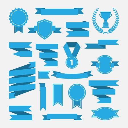 Blue ribbons,medal,award,cup set isolated on white background.Vector.Banner web Çizim