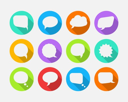 White speech vector bubbles with long shadow in flat design Vector