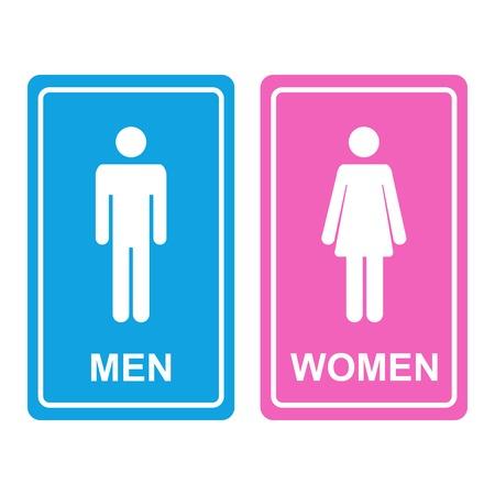 simbolo uomo donna: Icona WC denotano igienici e igienici strutture bianche maschili e femminili per gli uomini e le donne con maschio bianco e figure femminili staglia su un adesivi blu e rosa