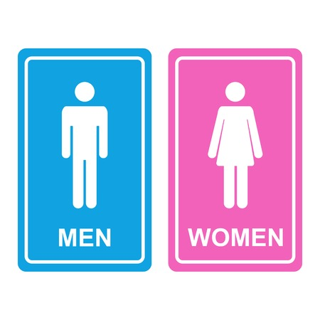 Male and female white WC icon denoting toilet and restroom facilities for both men and women with white male and female silhouetted figures on a blue and pink stickers