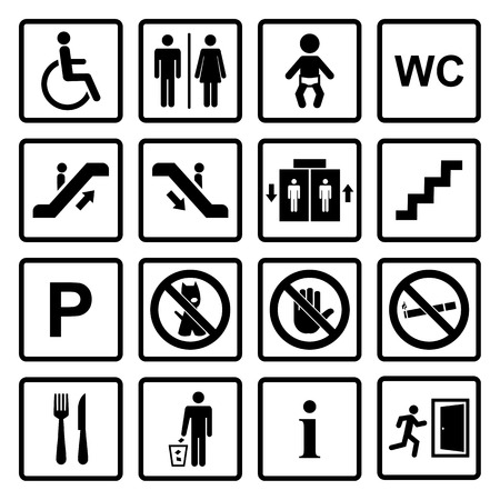 Vector black public icons set with toilet,child,garbage,dog,lift,escalator,exit,stairs,wheel chair,smoking,internet, parking,cafe,eatery