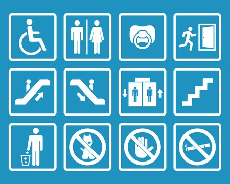 Vector white public icons with toilet,child,garbage,dog,lift,escalator,exit,stairs,wheel chair,smoking