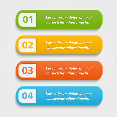 Vector colorful realistic web buttons,banner,infographic with numbers and shadow