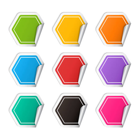 Vector realistic polygon colorful Sticker set ,realistic template with curved corner isolated on a white background with shadow