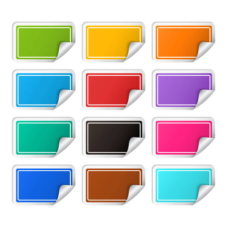 Vector realistic rectangular colorful stickers set ,realistic template with curved corner isolated on a white background Vector