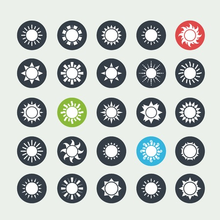 Vector big white sun icons set isolated 向量圖像
