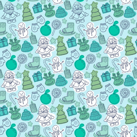 Vector Christmas pattern with Santa Claus,snowman,Christmas tree,sleigh,candy,deer Vector