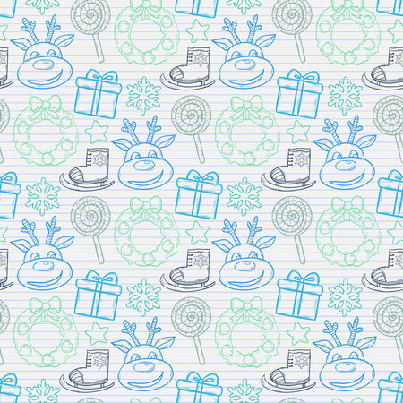 ice skates: Vector seamless Christmas pattern with gift, reindeer, Christmas wreath, candy, snowflakes, ice skates,on the notebook sheet in line.New Year Illustration