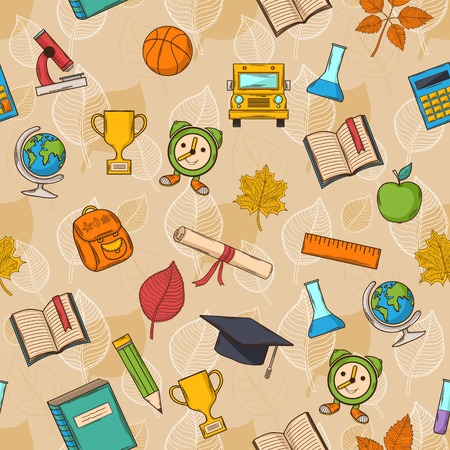 Seamless pattern Back to school on brown background Vector