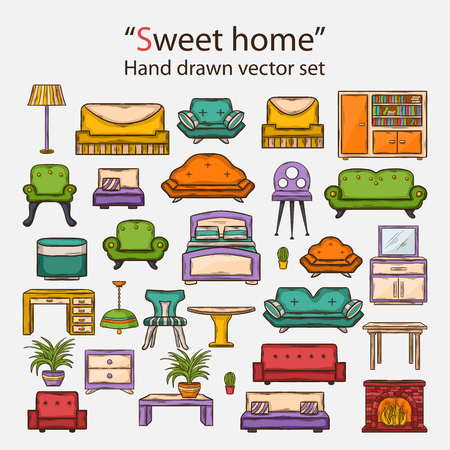 doddle: Vector hand drawn icon set with various home interior decor in doddle style with shadow