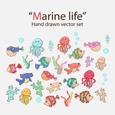 inhabitants: Vector vita marina hand drawn set con gli abitanti del mare, alghe, pesce spada, ricci di pesci, polpi, meduse, corallo