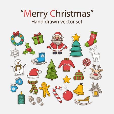 casita de dulces: Mano Vector Feliz Navidad Conjunto drenado, con Pap� Noel, mu�eco de nieve, �rbol de navidad, trineo, caramelo, casa, patines de hielo, copo de nieve, regalo, vela, Corona de Navidad, los juguetes de Navidad, guantes, gorro, bufanda, ciervos