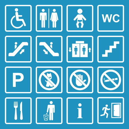eatery: Vector white public icons set with toilet,child,garbage,dog,lift,escalator,exit,stairs,wheel chair,smoking,internet, parking,cafe,eatery on a blue background Illustration