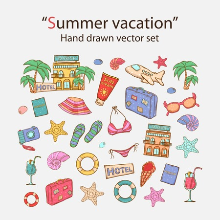 Vector Summer vacation doodle icons set.With swimsuit,camera,ball, palm, cocktail, shell, lifebuoy, bag, hat, sunscreen,sunglasses,starfish,hotel,passport