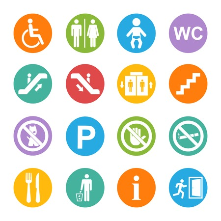 Vector white public icons set with toilet,child,garbage,dog,lift,escalator,exit,stairs,wheel chair,smoking,internet, parking,cafe,eatery on a blue background Ilustração