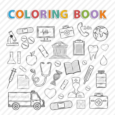 Vector coloring book.Hand drawn icons set .With ambulance, plaster, nurse, tablet, capsule, recipe,microscope, hospital, phone, apple, stethoscope,syringe Vector